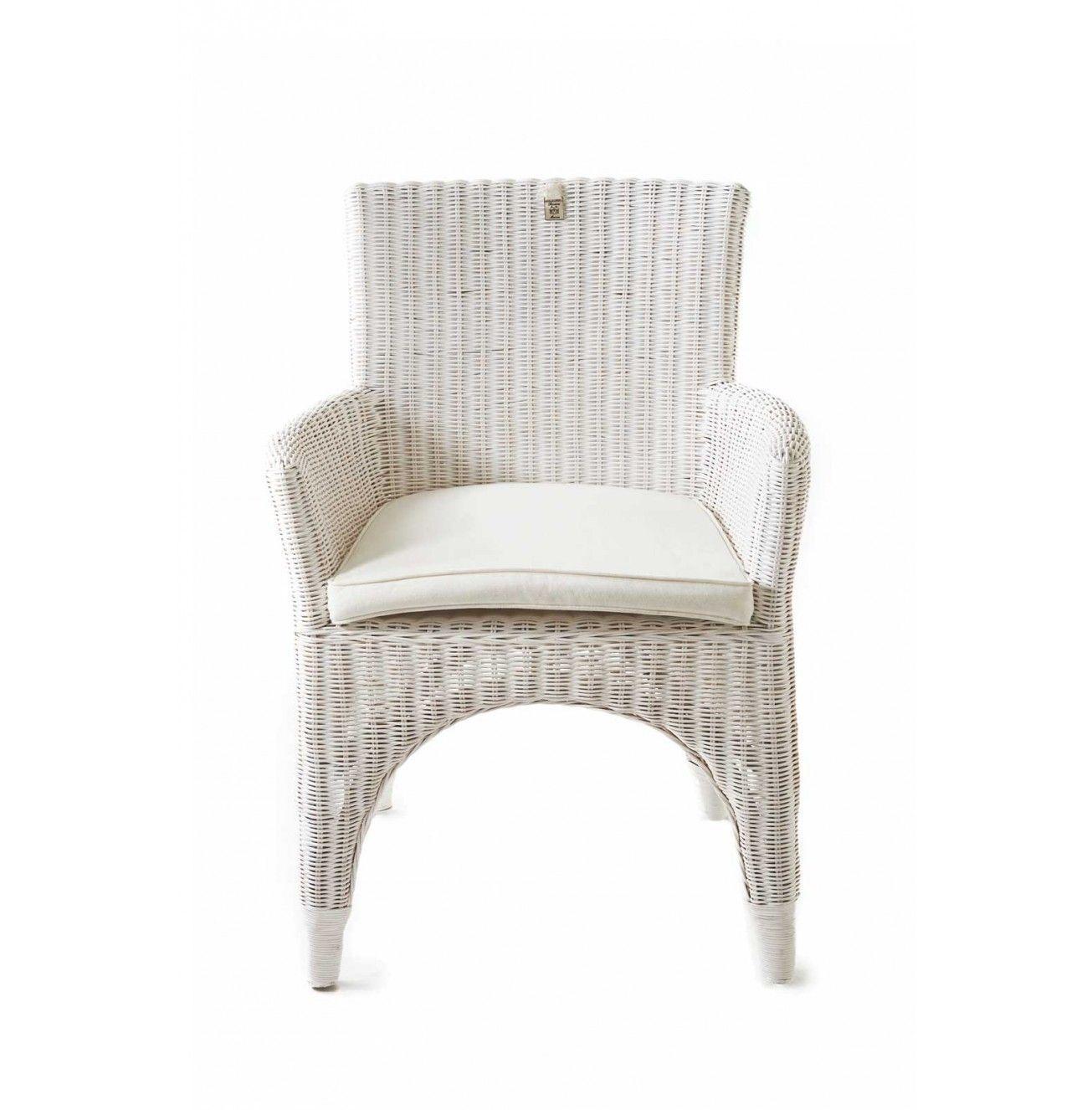 Ratanová jedálenská stolička The Hamptons White