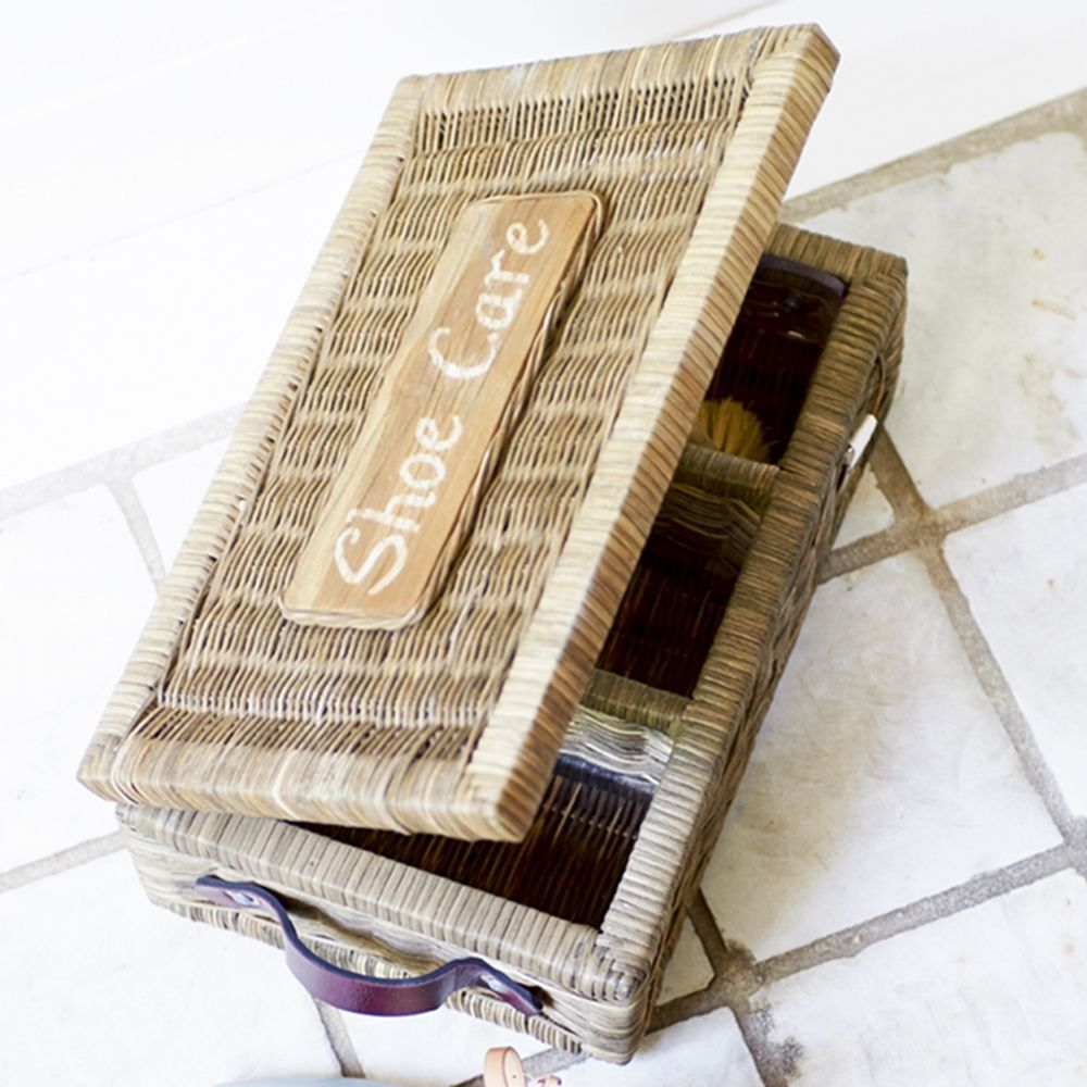 Rustic Rattan Shoe Care Box