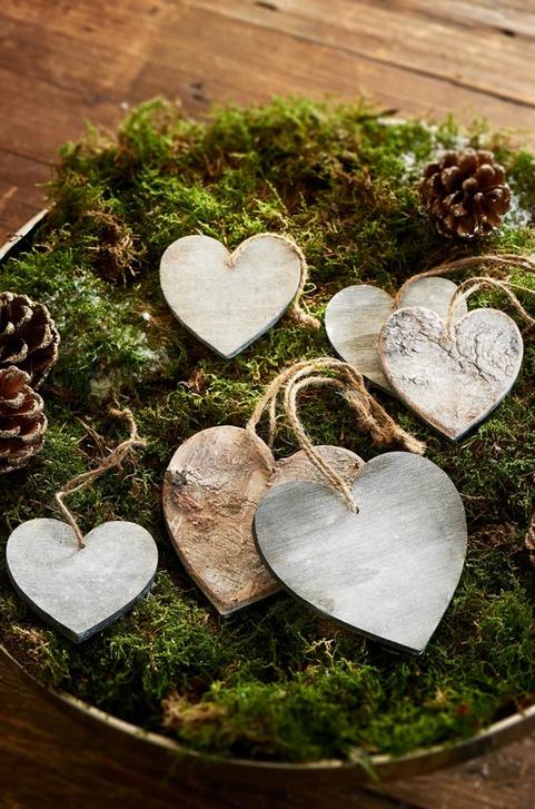 Dekorácia Wooden Hearts Birch Decoration