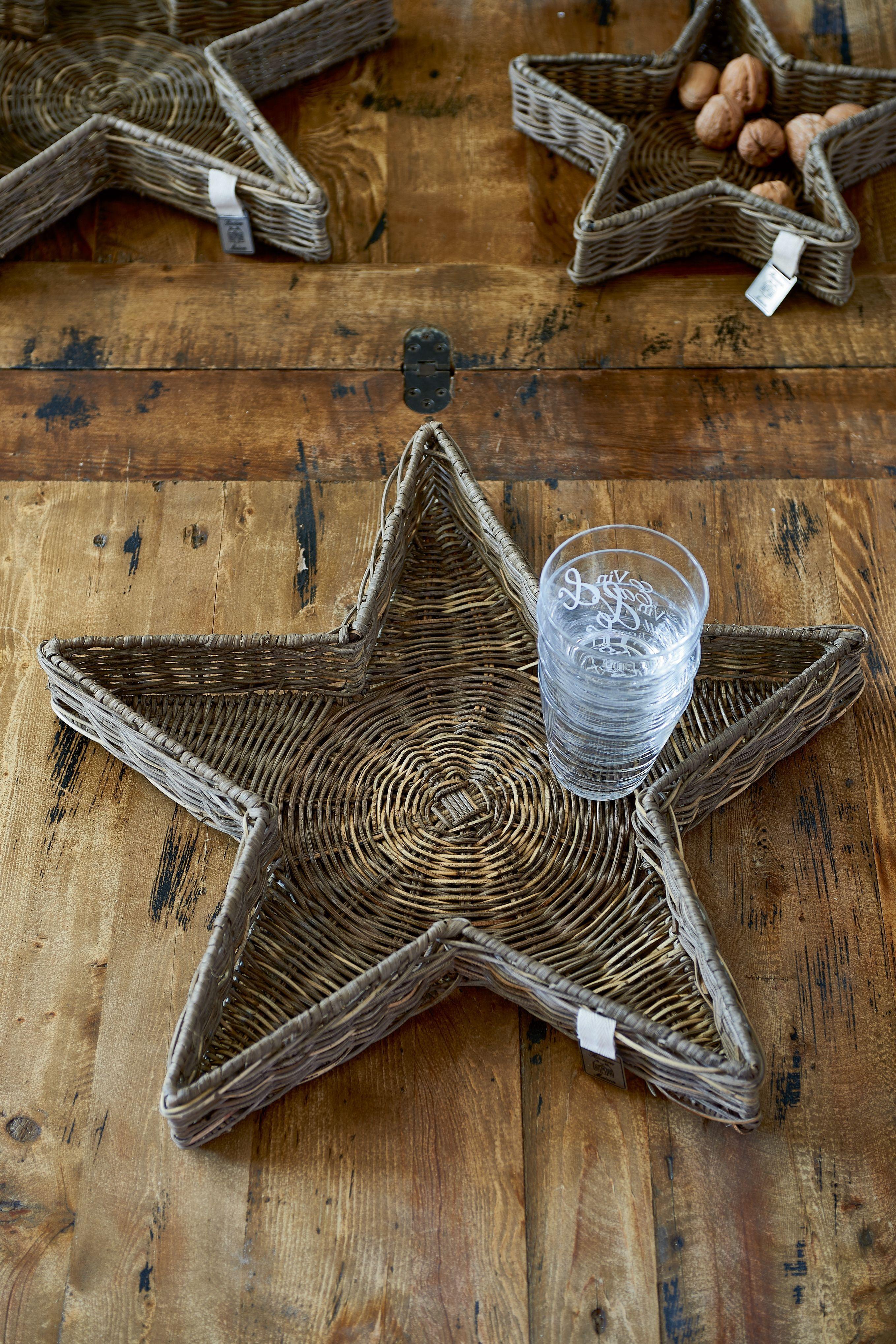 Ratanová vánoční dekorace Rustic Rattan Star Tray L