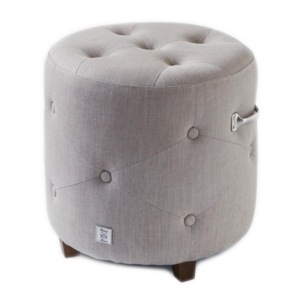 Bowery Footstool, Linen, Flax