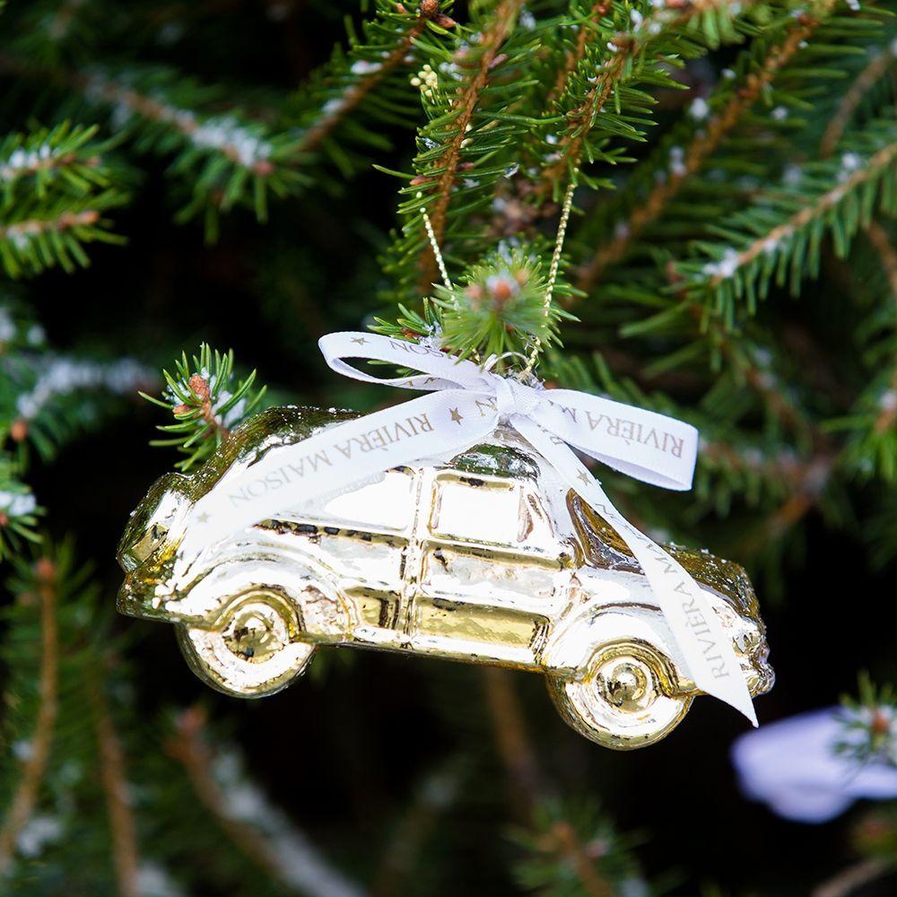 Vianočná ozdoba Driving Home... Gold Car Ornament