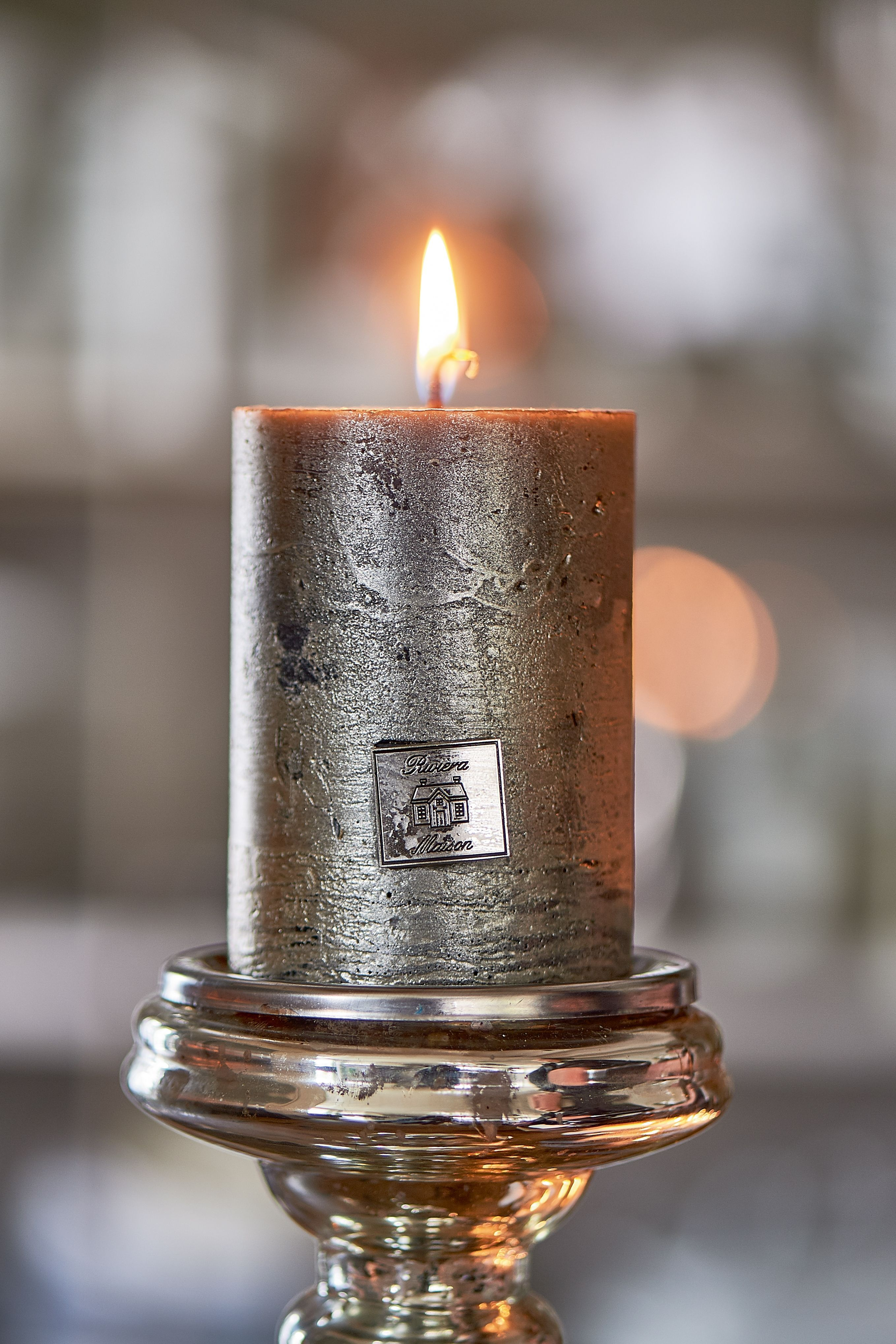 Svíčka Rustic Candle petrol 7x10 cm