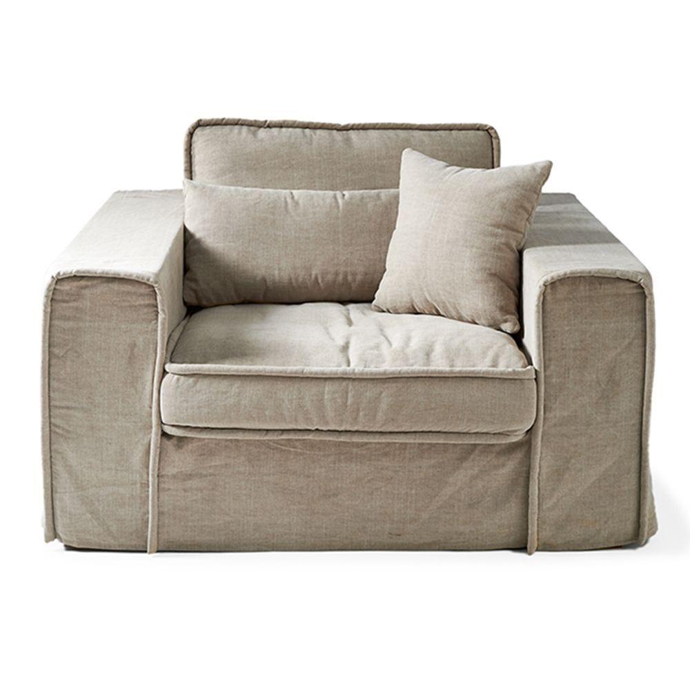 Metropolis Love Seat, Washed Cotton, Natural