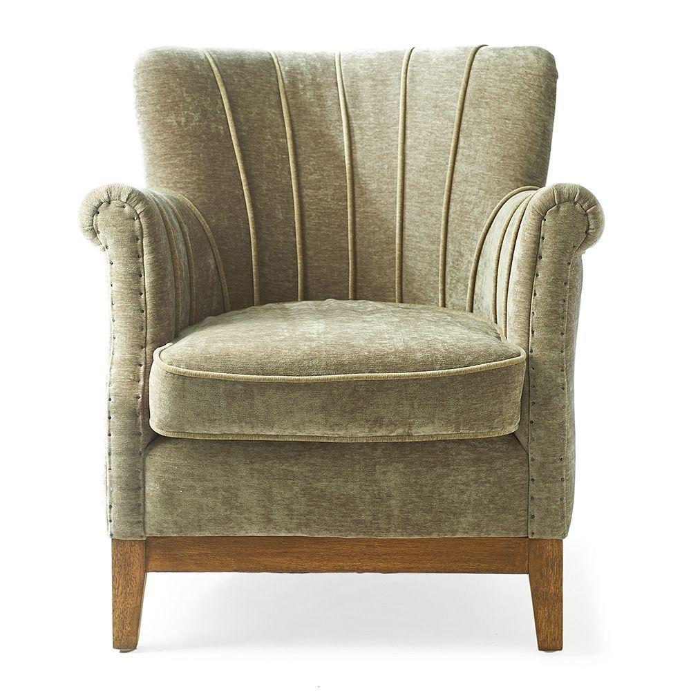 Kreslo East Village Armchair, Velvet, Olive