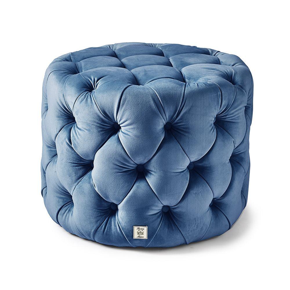 Opera Footstool, Velvet, Ocean Blue ∅ 55 cm