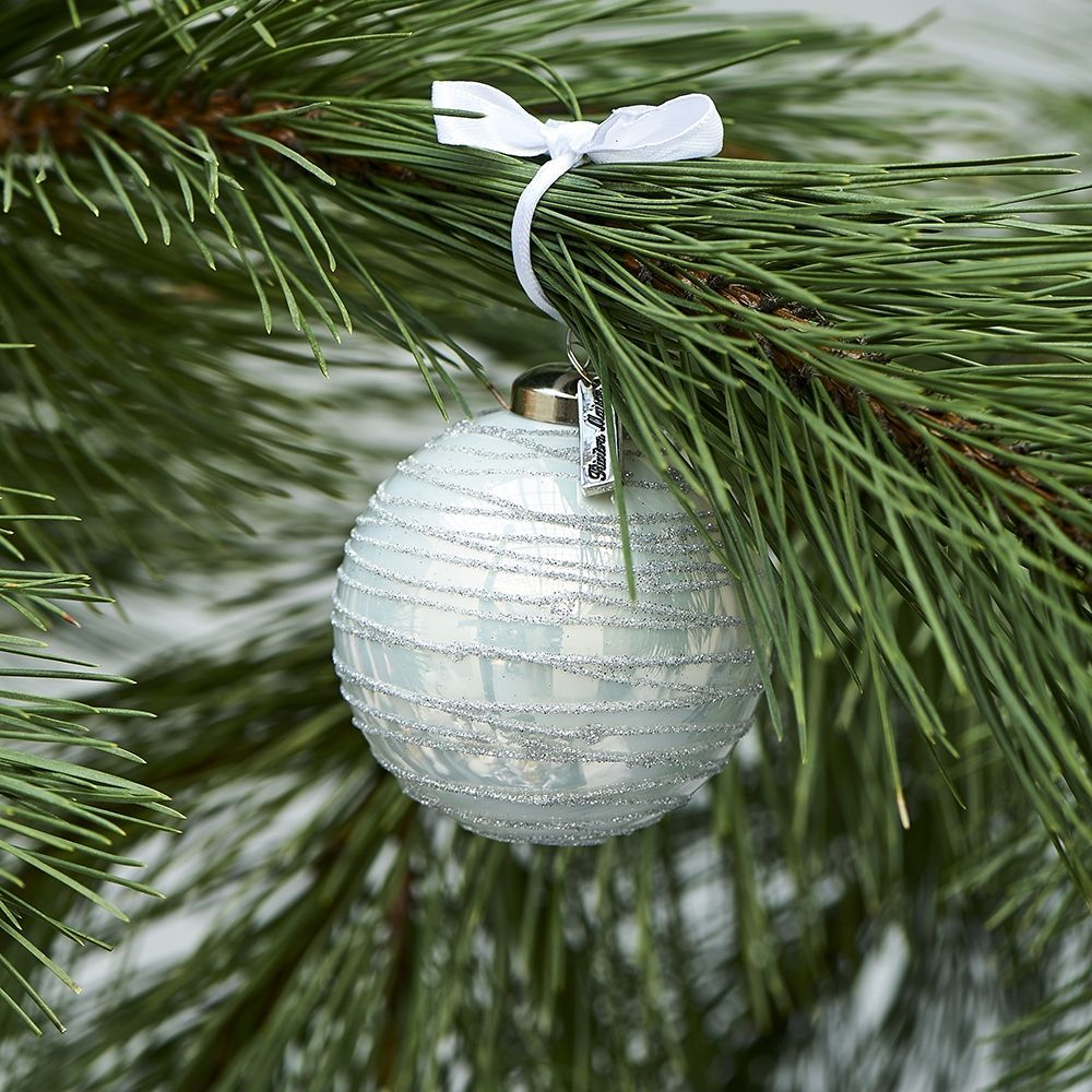 Vianočná ozdoba Glittering Christmas Ornament white Dia 8
