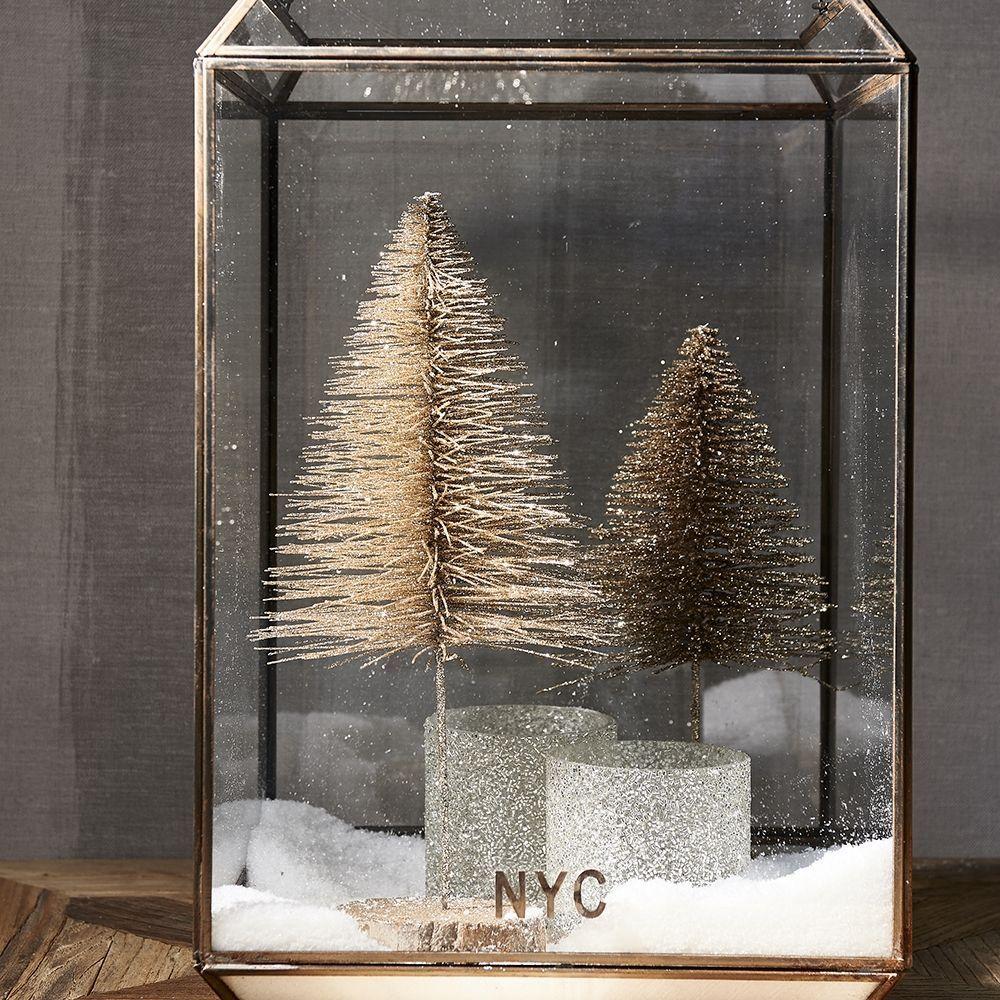 Vianočná ozdoba Glittering Pine Tree champagne