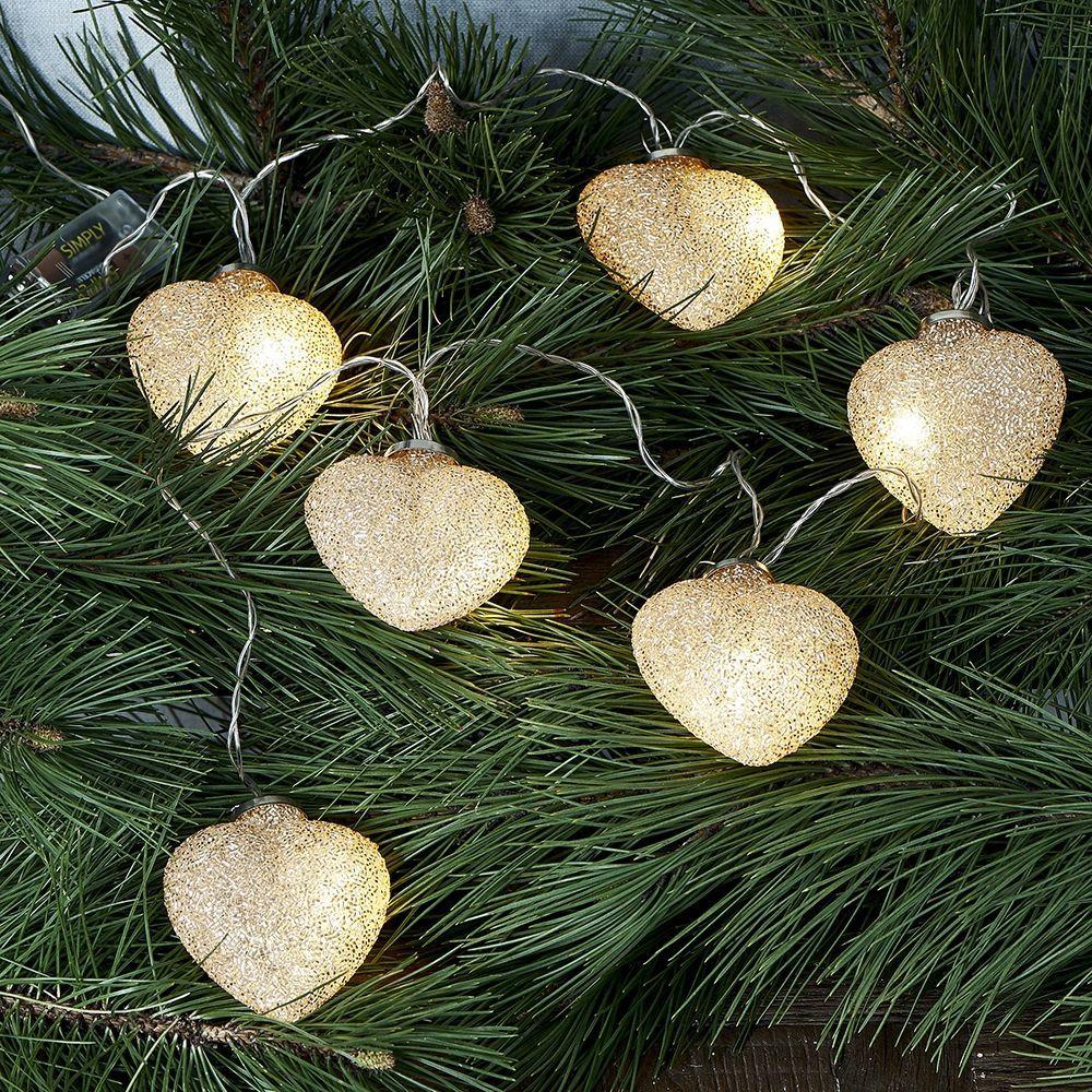 Vianočné osvetlenie Sparkling Hearts Light String gold