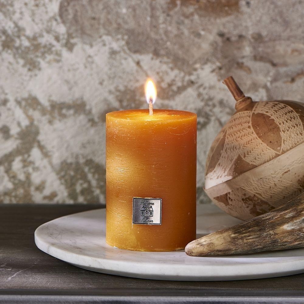 Sviečka Rustic Candle ocher yellow 7 x 10