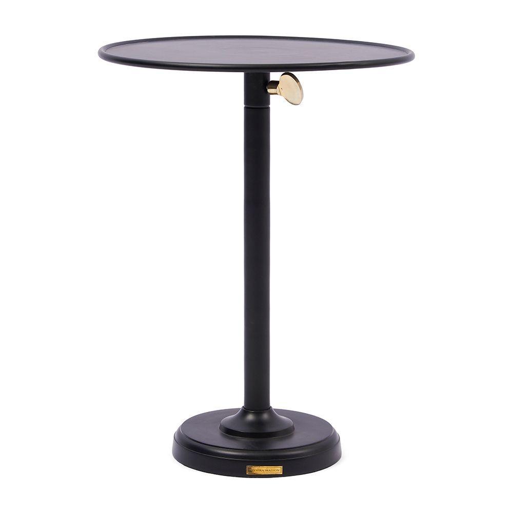 Venice Adjustable Sofa Table, Black L ∅ 40cm