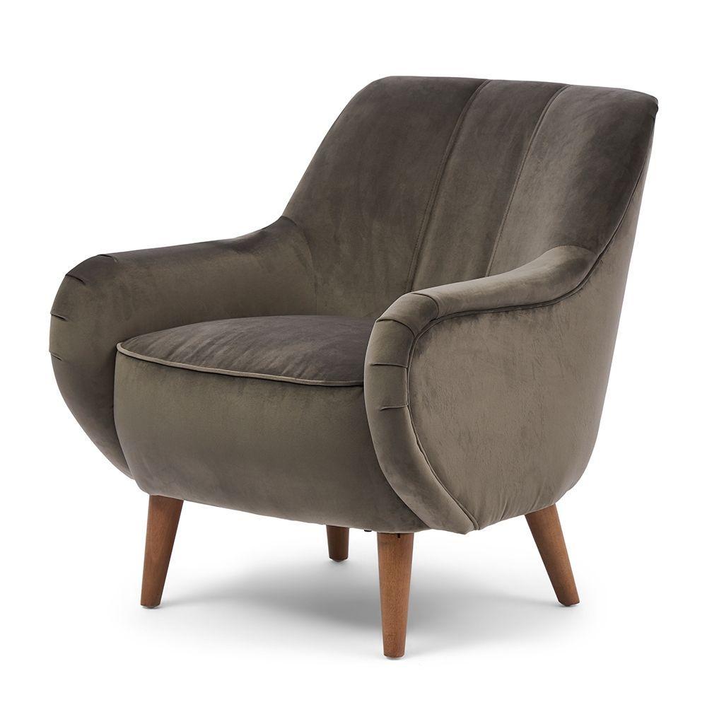 Kreslo Harper Armchair, Velvet, Grey