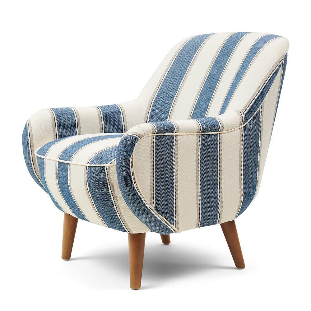 Harper Armchair, Stripe, Blue