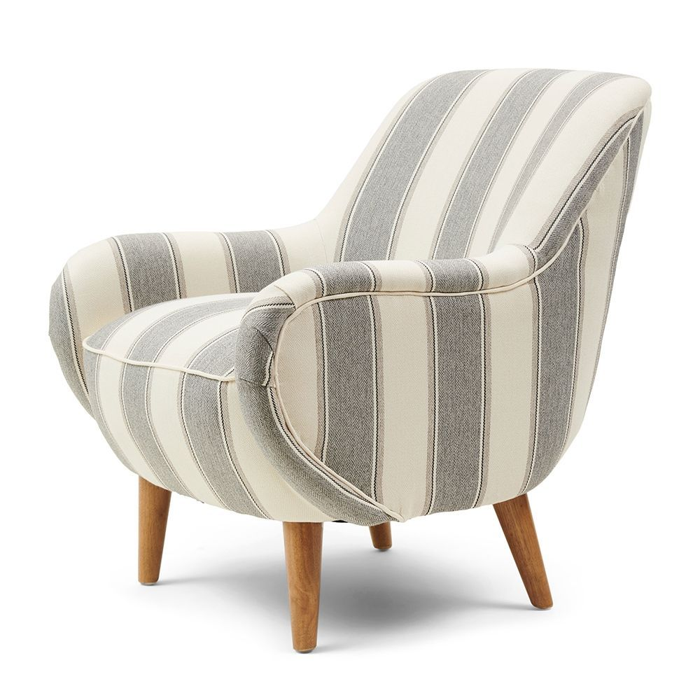 Harper Armchair, Stripe, Grey