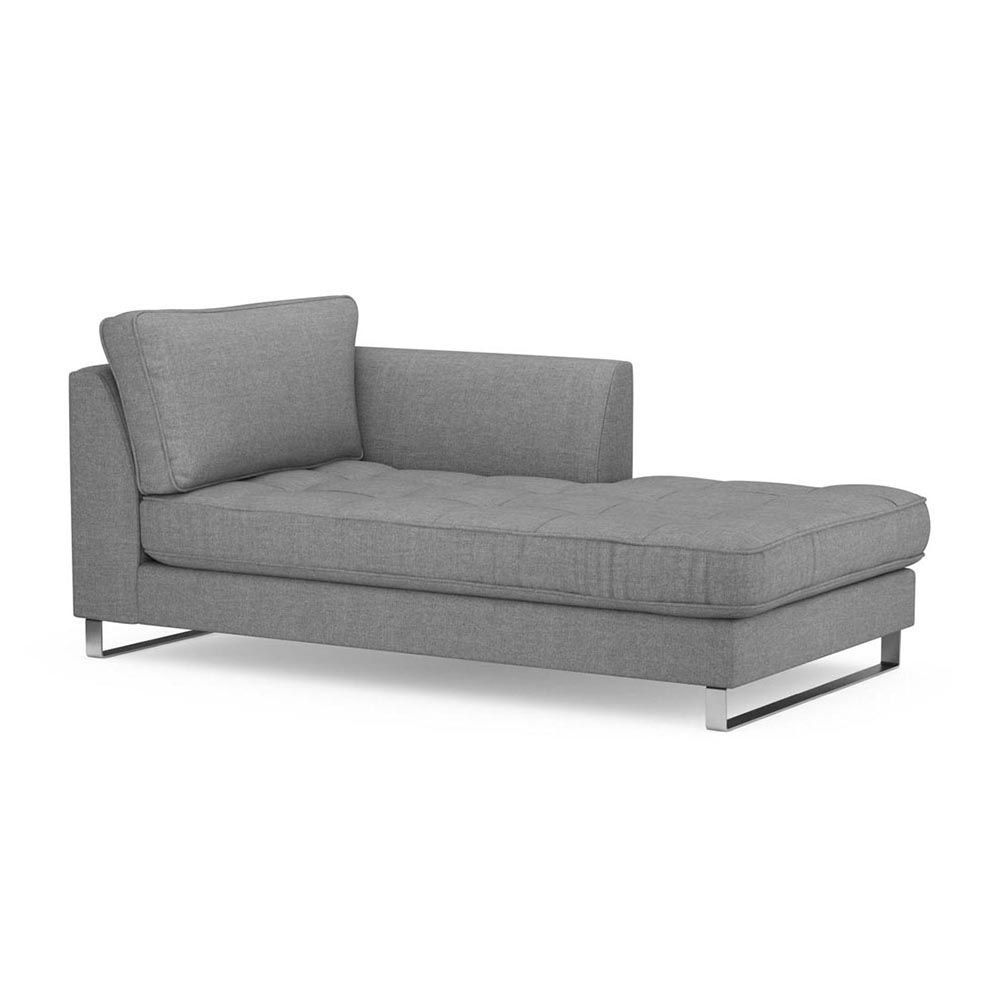 West Houston Chaise Longue Right, Washed Cotton, Grey