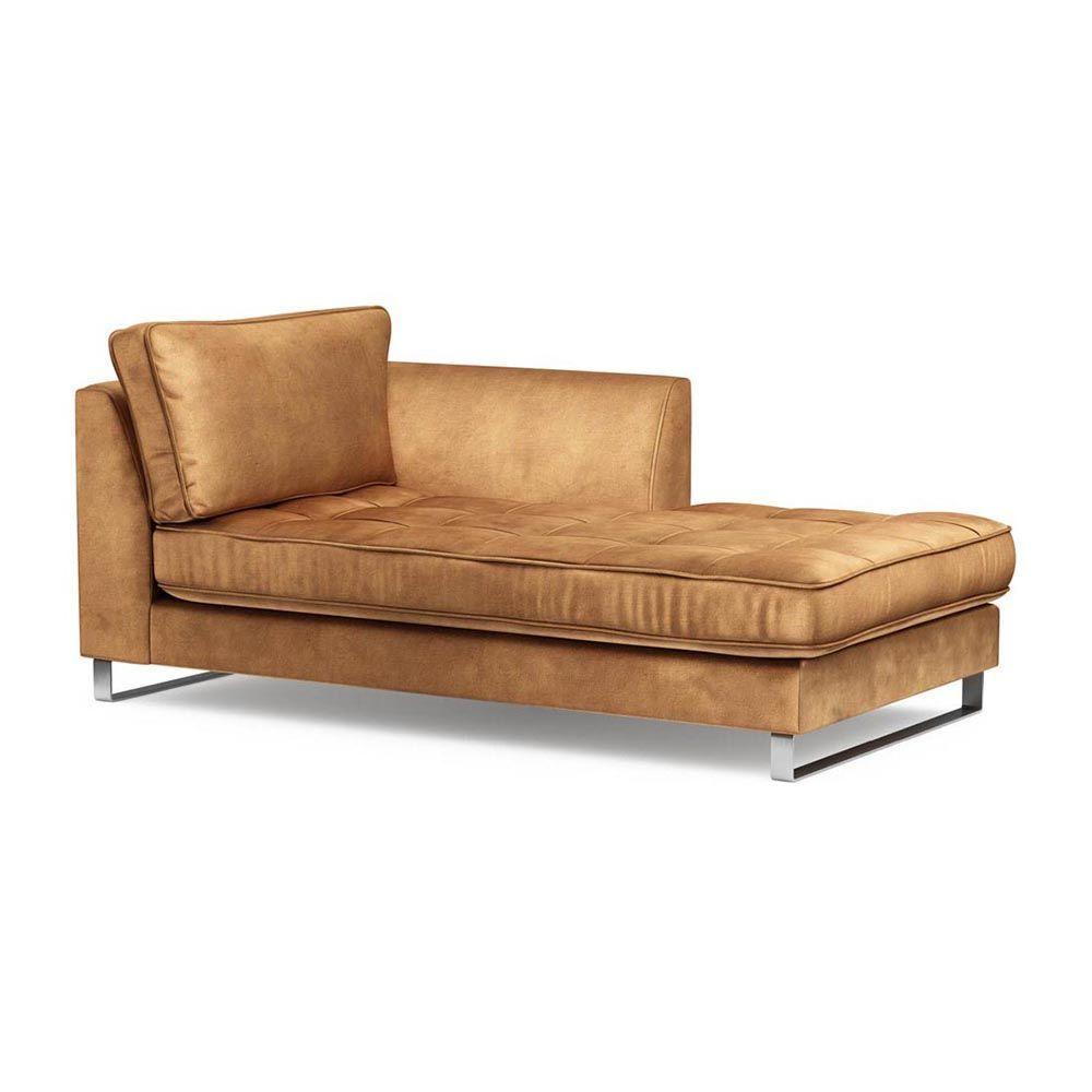 West Houston Chaise Longue Right, Velvet, Cognac