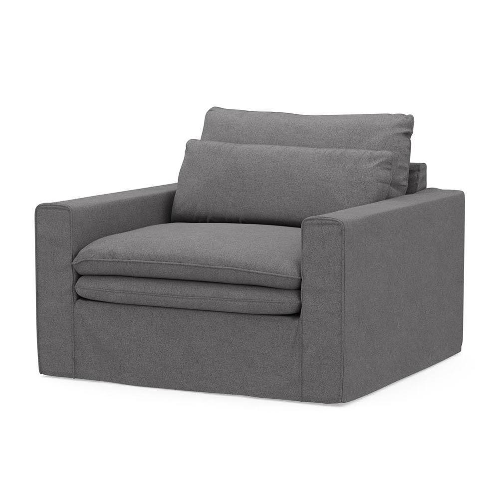 Continental Love Seat, Oxford Weave, StGrey