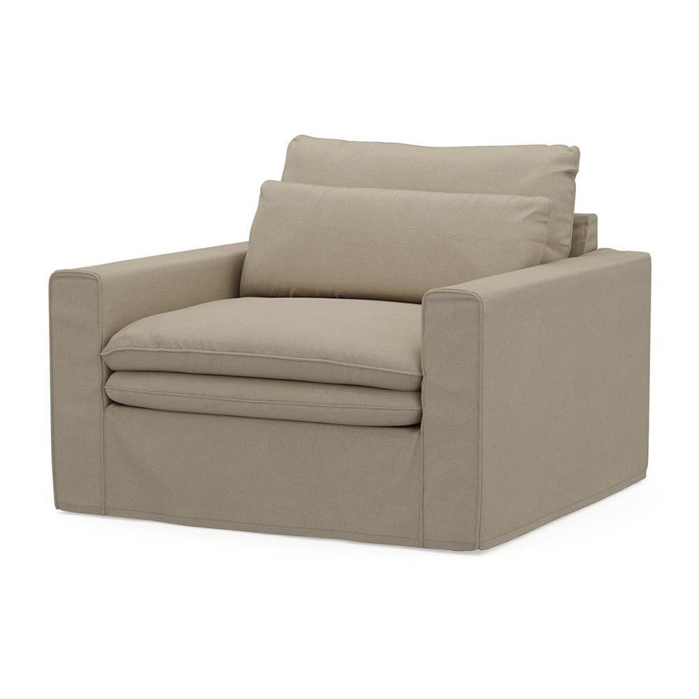 Continental Love Seat, Oxford Weave, FlFlax