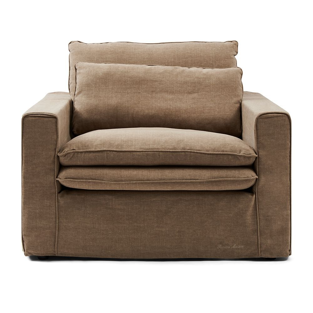Continental Love Seat, Washed Cotton, Natural