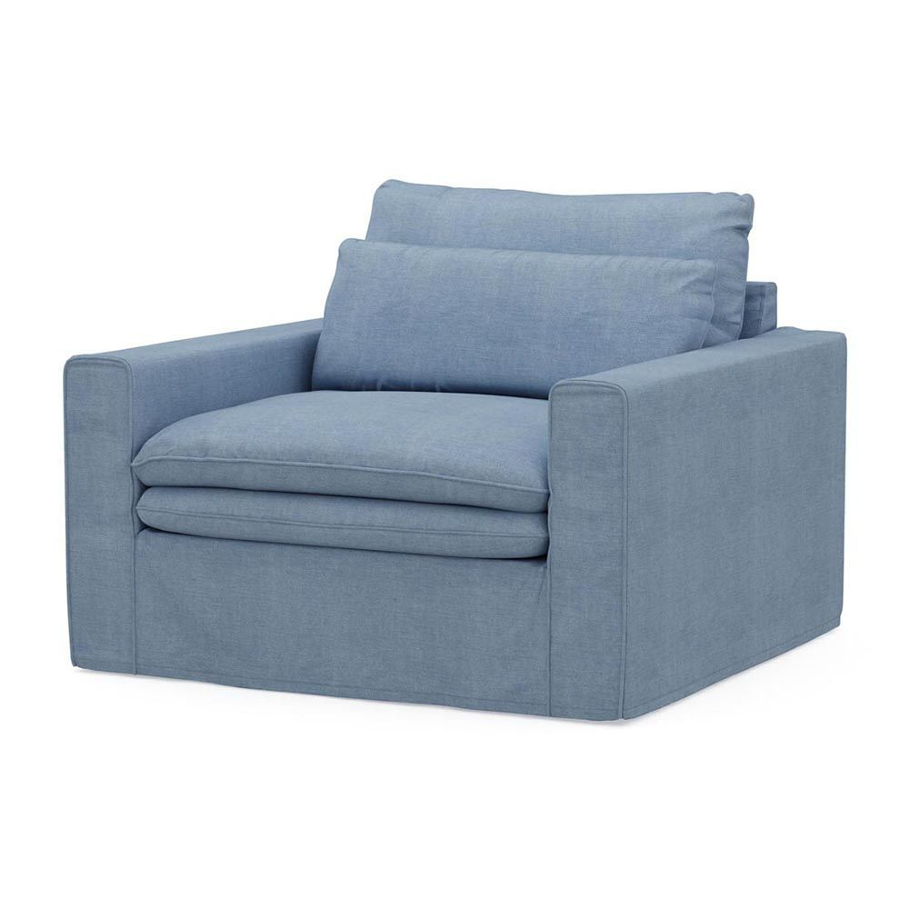 Continental Love Seat, Washed Cotton, IceBlue