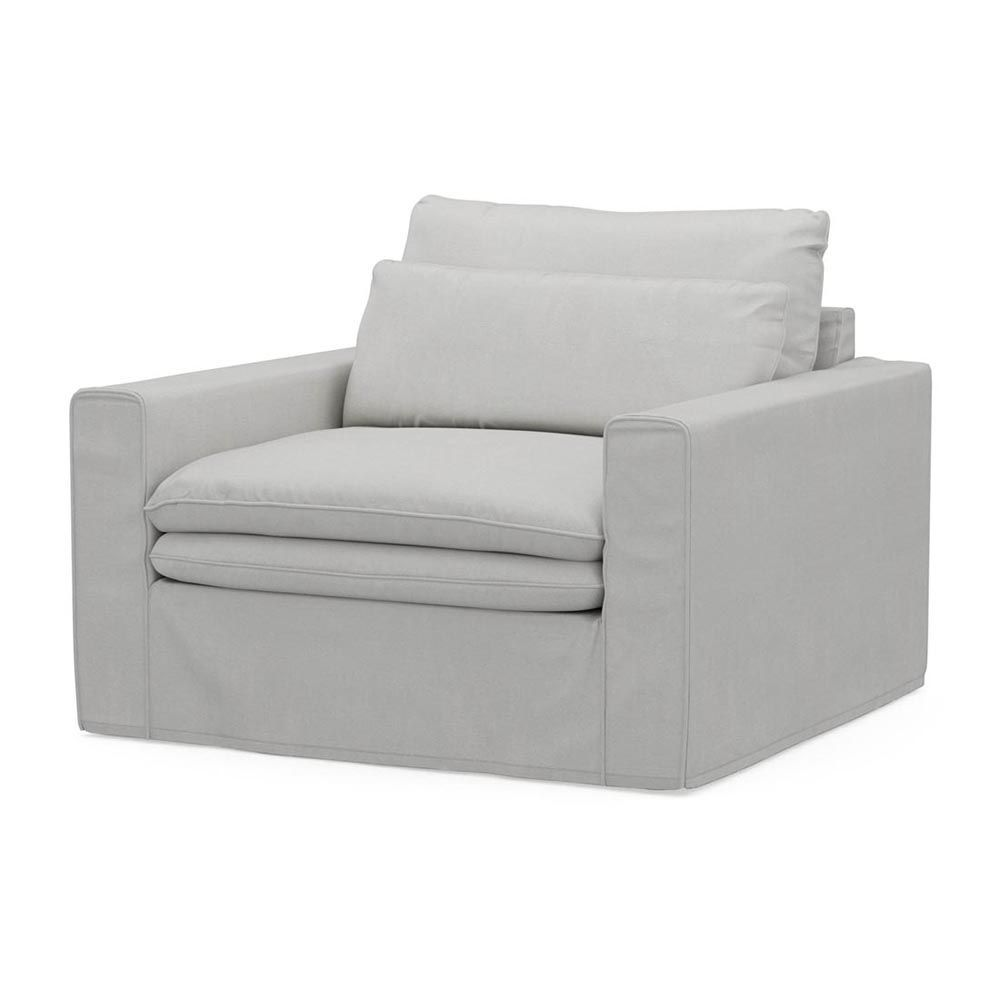 Continental Love Seat, Washed Cotton, AshGrey