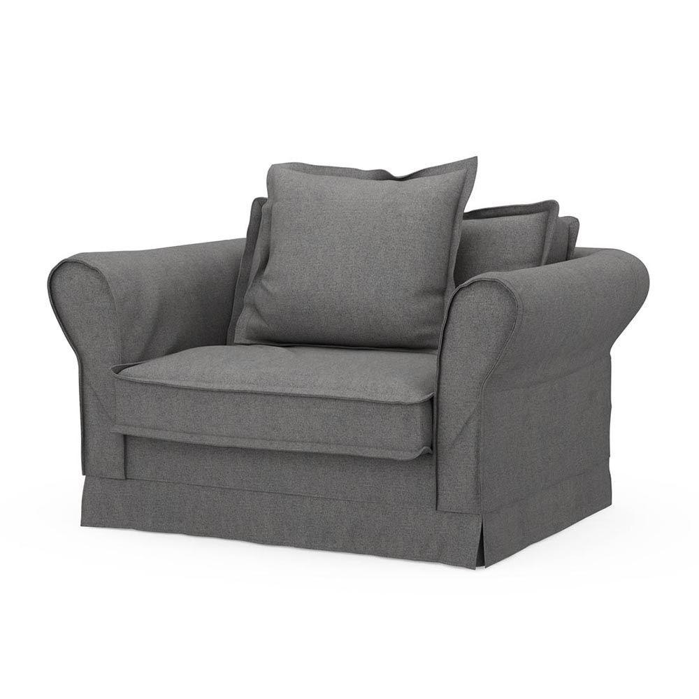 Carlton Love Seat, Oxford Weave, Charcoal