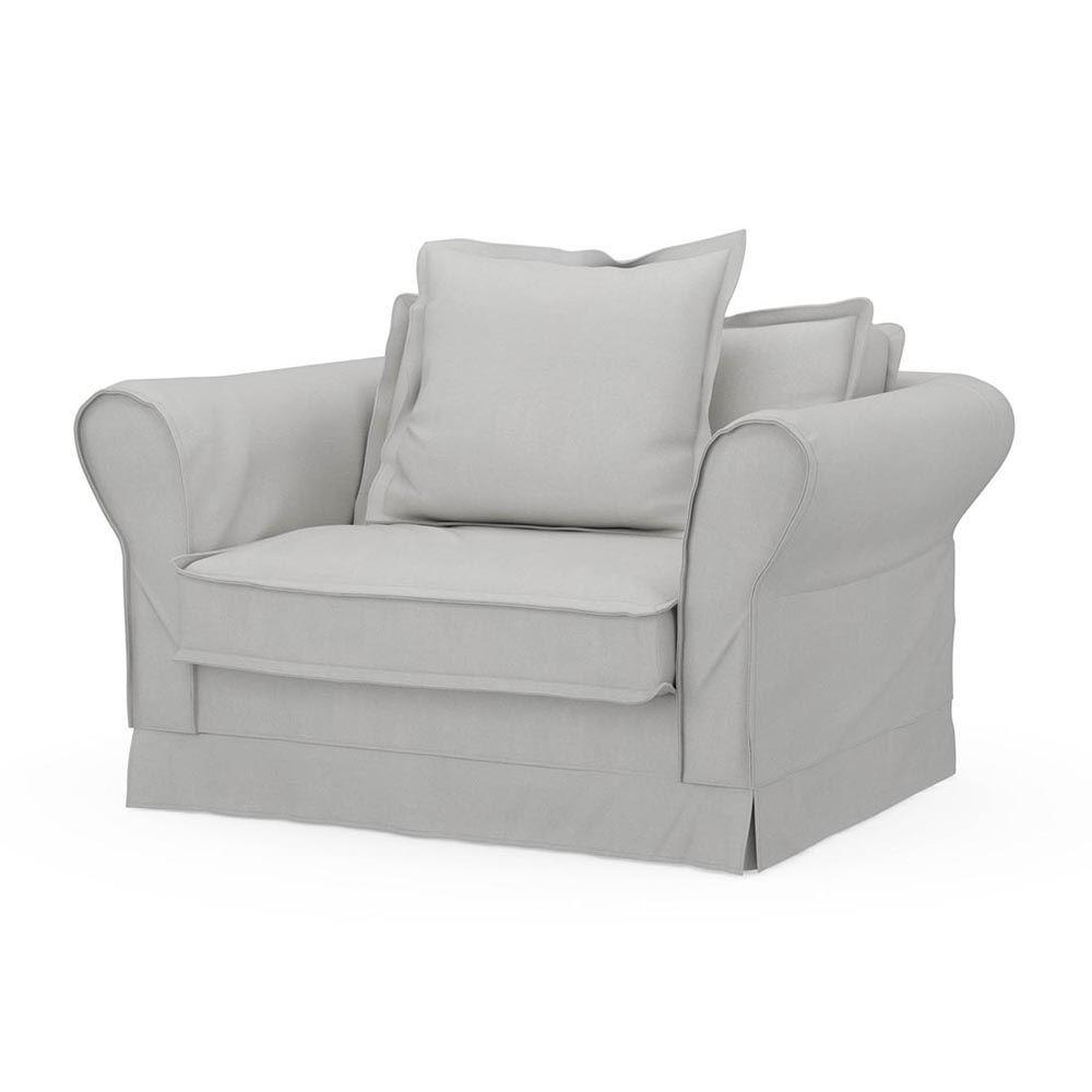 Carlton Love Seat, Washed Cotton, AshGrey