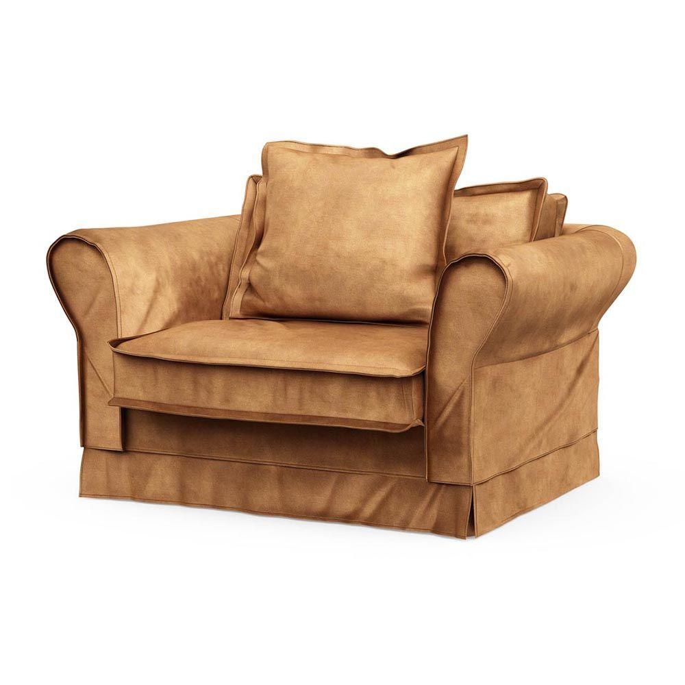Carlton Love Seat, Velvet, Cognac