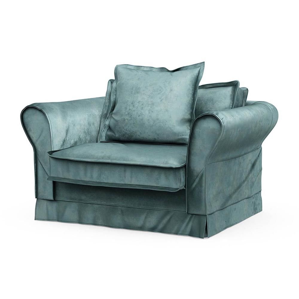 Carlton Love Seat, Velvet, MinBlue