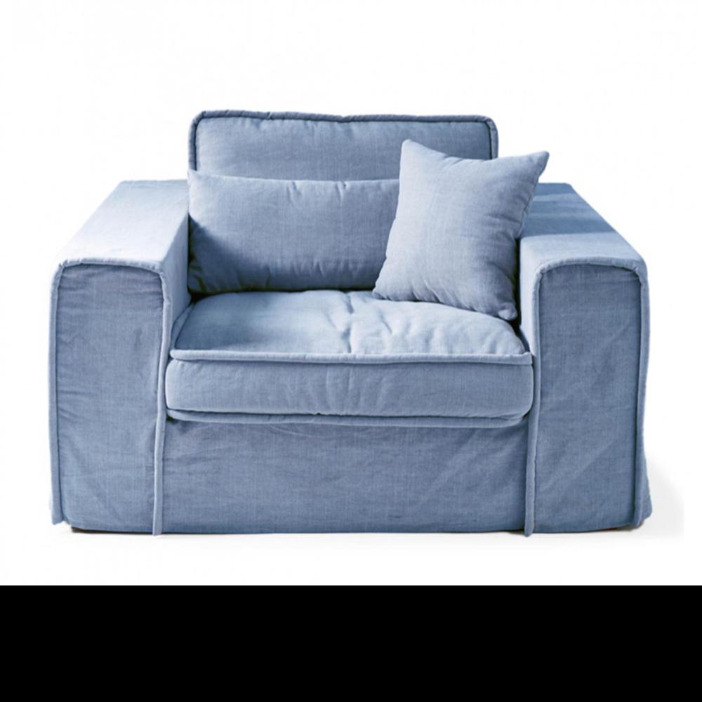 Metropolis Love Seat, Washed Cotton, Ice Blue