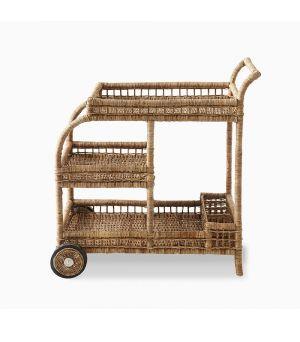 Rustic Rattan High Tea Trolley