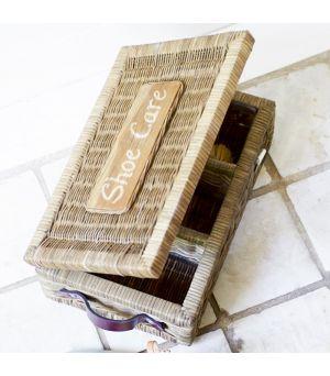 Rustic Rattan Shoe Care Box