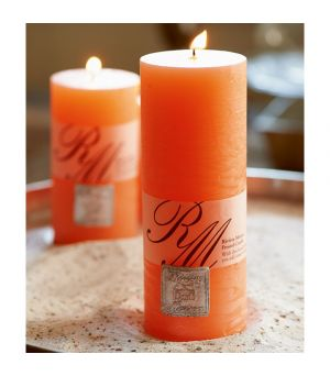 Frosted candle vibrant orange 18x7cm