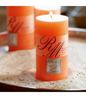 Frosted candle vibrant orange 13x7cm