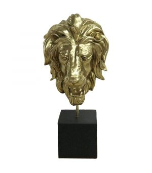 Lion Head Antiq Gold on Stand