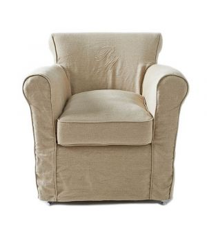 Paramount Armchair with loose cover, washed linen