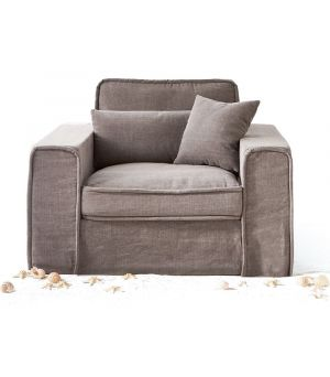 Metropolis Love Seat, Washed Cotton, Stone