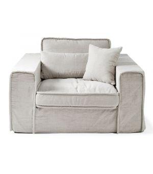 Metropolis Love Seat, Washed Cotton, Ash Grey
