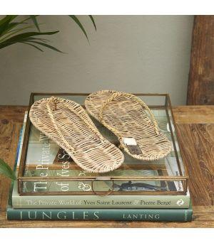Dekorácia Rustic Rattan Flip Flops