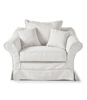 Bond Street Love Seat, Oxford Weave, Alaska White