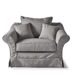 Bond Street Love Seat, Oxford Weave, Steel Grey