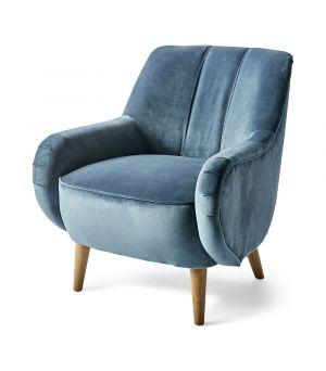 Kreslo Harper Armchair, Velvet, Ocean Blue