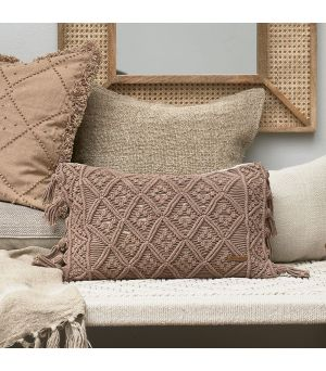 Návlek na vankúš Basic Bliss Macrame Pillow Cover taupe 50 x 30