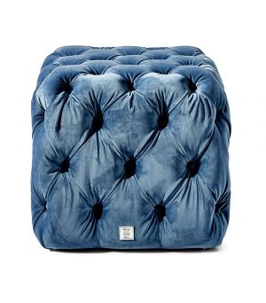 California Pouf, Velvet, Blue 50 x 50 cm