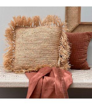 Raffia Fringe Pillow Naturel 50x50