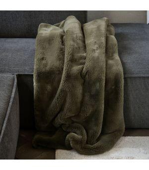 Faux Fur Throw Green 170 x 130