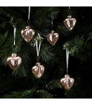 Vianočná ozdoba Merry Christmas Heart Ornaments pink set 6ks