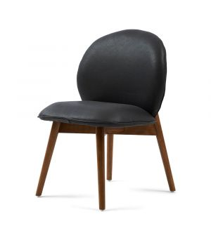 Stolička Lake Como Dining Chair, leather, Charcoal