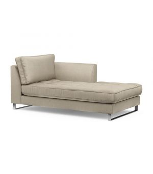 West Houston Chaise Longue Right, Velvet, Pearl