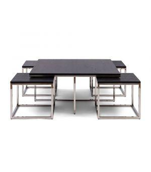 Konferenčný stolík Nomad Set 5 Black, 100x100cm